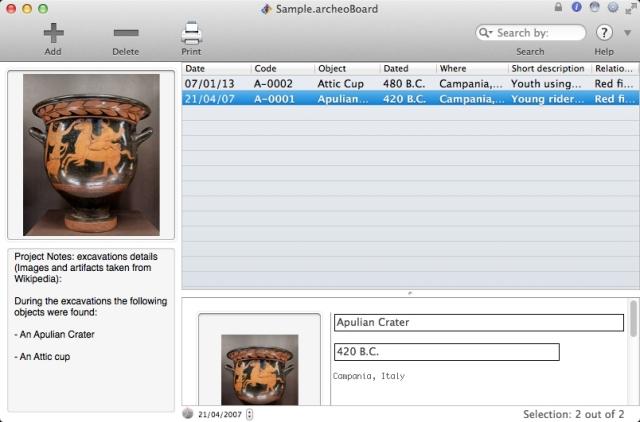 ArcheoBoard main window - Click to enlarge