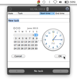 Hats for Mac: setting up a task